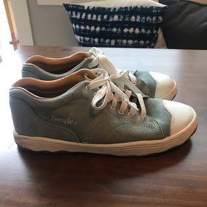 Green/grey classic retro suede sneaker